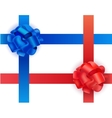 set of shiny blue and red satin crosswise vector image vector image