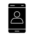 smartphone with contact on screen solid icon call vector image vector image