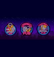 sports bar collection logos in neon style set vector image