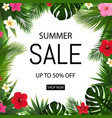 summer sale poster with tropical flowers and vector image vector image