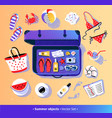 summer vacation set with travel suitcase vector image vector image