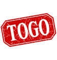 Togo red square grunge retro style sign vector image vector image