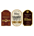 vintage wine labels alcohol badges with pictures vector image vector image