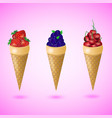 waffles cones with strawberry cherry blueberry vector image vector image