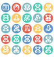 woman day icon set on color circles background for vector image