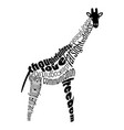 word cloud of a giraffe vector image vector image
