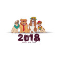 doodles happy new year card 2018 dogs isolate vector image