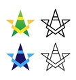 Star Logo Template Set Colored Black And White vector image