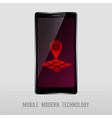 mobile device with geo mark vector image