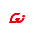 abstract letter gj geometric arrow line logo vector image vector image