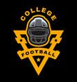 american football sport logo emblem on a dark vector image vector image