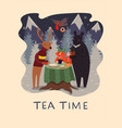 animal tea party in winter forest vector image