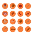 Barbecue grill round icons set vector image