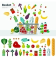 Basket with Vegetables Banner and Icon Set vector image vector image