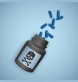 black bottle with poisonous pills a bottle vector image vector image