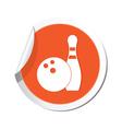 bowling icon orange sticker vector image vector image