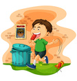Boy throwing icecream bag on the ground vector image vector image
