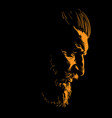 brutal bearded man portrait in backlight vector image vector image