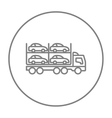 Car carrier line icon vector image vector image