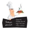 Cartoon character with a dish and menu vector image vector image