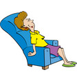 cartoon woman resting in a chair vector image vector image