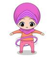 chibi muslim female cartoon character hulahop vector image vector image