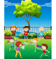 Children playing water gun in the park vector image vector image