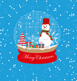 christmas snowman globe vector image vector image