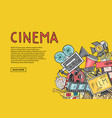 cinema doodle icons on yellow background vector image vector image