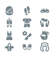 Clothing and trip icon set gray vector image vector image