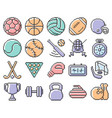 collection outlined pixel icons sport vector image