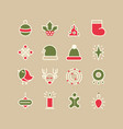 colorful winter holidays lined icons set vector image vector image