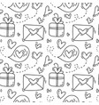 cute monoline hand drawn heart seamless vector image vector image