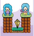 cute pixelated videogame fantasy scenery vector image vector image