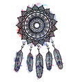 dream catcher graphic in on watercolor background vector image vector image