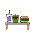 fast food menu cola hamburger and french fries vector image vector image