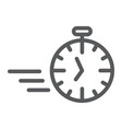 fast stopwatch line icon time and speed timer vector image vector image