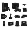 game console and virtual reality black icons in vector image