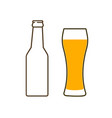 glass of beer and bottle vector image vector image