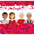 grandparents couple with hearts pattern vector image vector image