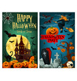 halloween spooky ghost house and cemetery banner vector image vector image