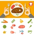 Hands cutlery Plate Food Icon Set Restaurant vector image vector image