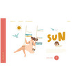 happy woman swinging on seesaw landing page vector image
