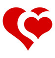 heart in heart icon simple style vector image