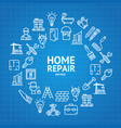 home repair concept round design template line vector image vector image