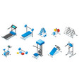 isometric fitness equipment collection vector image