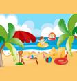 kids swimming in the ocean vector image vector image