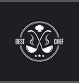 ladle logo with chef hat best chef sign on black vector image