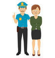 law enforcement officer handcuffing a woman vector image vector image