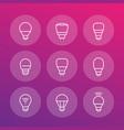 led light bulbs icons linear vector image vector image